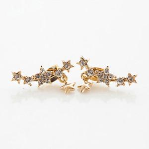 E-3123 Korea Style Gold Plated Alloy Clear Rhinestone Stars Tassels Earrings