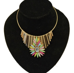 N-3898 Korea Style Gold Plated Hoop Chain Tassels Resin Rainbow Flower Collar Necklace