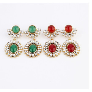 E-3134 Fashion gold plated  alloy rhinestone crystal resin gem bead big flower dangle drop earrings for girls 3 colors