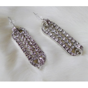 E-3128 Korea style gold/silver plated alloy full rhinestone double circle dangling earrings