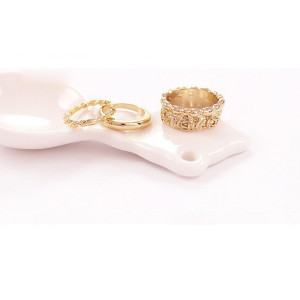 R-1131 Korea Style Gold Plated Alloy  Mix Three Style Rings Set