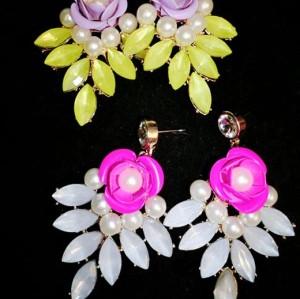 E-3127 2014 hot sale fashion european style purple/big pearl crystal flower luxury statement shourouk earrings