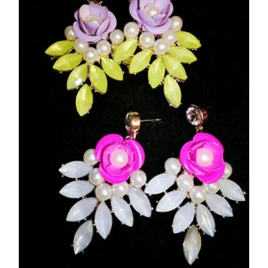 E-3127 2014 hot sale fashion european style purple/big pearl crystal flower luxury statement shourouk earrings