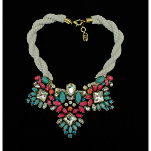 N-3901 European Style Rope Chain Colorful Crystal Flower Statement Choker Necklace