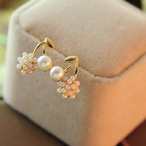 E-3125 2014 hot fashion Korea style elegant cherry pearl ball cute stud earrings for women