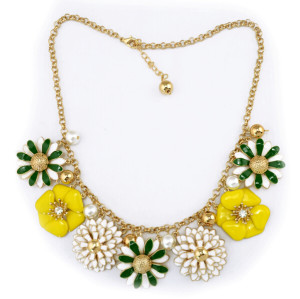 N-3900 European Style Gold Plated Enamel Flower Pearl Ball Pendant Bib Necklace