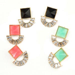 E-3131 Korea style pink/black/green square resin gemstone rhinestone fan shape shinning dangling earrings for women summer dress