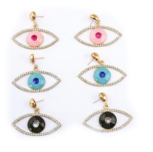 E-3132 European Style Gold Plated Alloy  Enamel Rhinestone Eyes Dangle Earrings