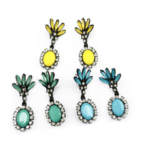 E-3133 European Style Black Alloy  Resin Gem Rhinestone  Leaves Flower Dangle Earrings