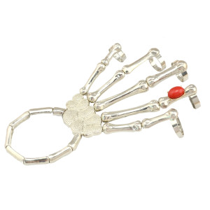 B-0356 New Arrival Punk Style Silver Metal Red Resin Gem Bone Skull Hand Claw Fingers Rings Cuff Bracelet