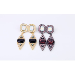 E-3141 European Style Gold Plated Alloy  Resin Gem Rhinestone Geometry Triangle Dangle Earrings