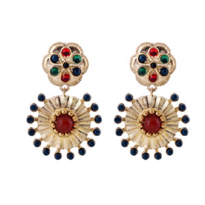 E-3142 Bohemian Style Copper Tone Alloy Colorful Beads Carving Flower Dangle Earrings