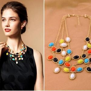 S-0095 Korea Style Gold plated  Chain  Colorful Resin gem Candy Tassels Necklace Bracelet Set