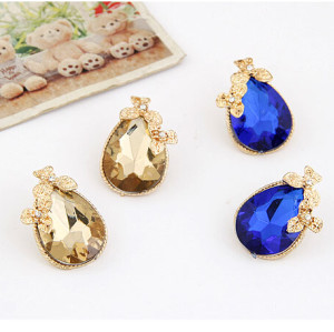E-3144 Korea Style Gold Plated Alloy  Flower  Clear Rhinestone Drop Blue champagne Crystal Drop Ear Studs