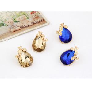 E-3144 Korea Style Gold Plated Alloy  Flower  Clear Rhinestone Drop Blue champagne Crystal Drop Ear Studs