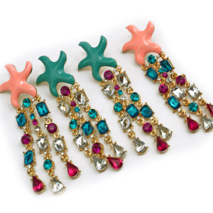 E-3143 Korea Style Gold Plated Alloy Enamel Starfish Colorful Rhinestone Crystal Drop Dangel Earrings