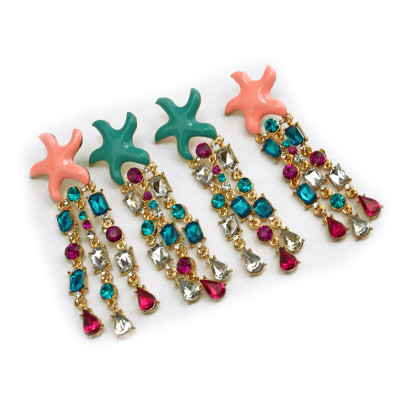 E-3143 Korea Style Gold Plated Alloy Enamel Starfish Colorful Rhinestone Crystal Drop Dangel Earrings