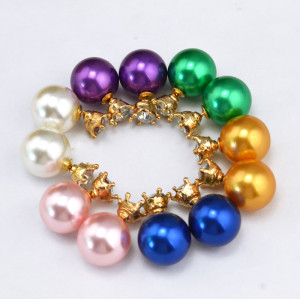 E-3147 Europe Style Gold Plated Alloy Crown Crystal  Pearl Double Face Ear Studs