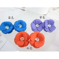 E-3146 Korea style crystal big enamel resin pink purple blue plum flower multicolor stud earrings