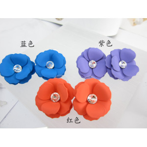 E-3146 Korea style crystal big enamel resin pink purple blue plum flower multicolor stud earrings