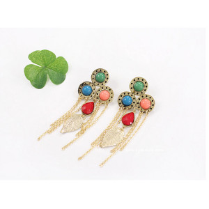 E-3136 Vintage Style Bronze Gold Plated Alloy Drop Acrylic Gem Golden Leaf Chains Tassels Dangle Earrings