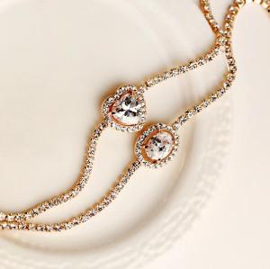 B-0345 New Arrival  Korea Style Gold Plated  Clear Rhinestone Heart  Egg Zircon Bracelet B-0363