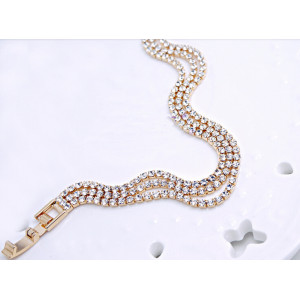 B-0364 Korea Style Gold Silver Plated Three Row Full Clear Charming Rhinestone Chain Bracelets