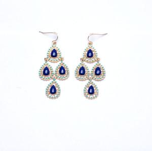 E-3157 Bohemian Style Gold Plated Alloy Enamel Resin Gem Drop Flower Dangle Earrings