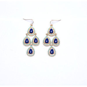 E-3157 Bohemian Style Gold Plated Alloy Enamel Resin Gem Drop Flower Dangle Earrings