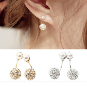 E-3159  Korea style gold/silver metal pearl steel rhinestone ball charm stud earrings