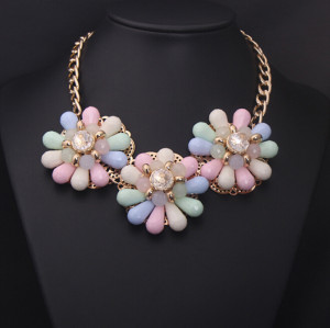 N-3918 Korea Style Summer Jewelry Colorful Drop Resin Gem Clear Crystal Flower Choker Necklace