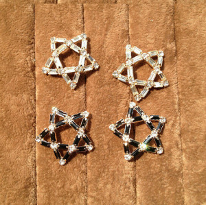E-3158 Korea style 2 colors vinatge big five-pointed star pentagram rhinestone crystal  stud earrings