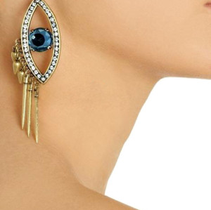 E-3153 Punk rock bronze alloy big rhinestone evil blue eye rivets tassels vintage dangle earrings