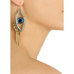 E-3153 Punk rock bronze alloy big rhinestone evil blue eye rivets tassels vintage dangle earrings