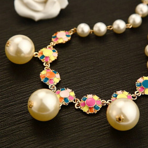 N-3920 Korea Style Summer Jewelry Gold Plated Pearl Chain Colorful  Enamel  Flower Choker Pearl Pendant Necklace