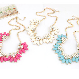 N-3924  Korea Style Summer Jewelry Gold Plated Chain rhinestone Resin Gem Flower Choker Necklace