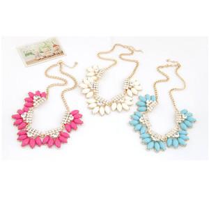 N-3924  Korea Style Summer Jewelry Gold Plated Chain rhinestone Resin Gem Flower Choker Necklace