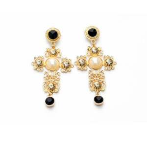 E-3171 European Style Gold Plated Alloy Carving Flower Resin Gem Pearl Cross Dangle Earrings