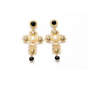 E-3171 European Style Gold Plated Alloy Carving Flower Resin Gem Pearl Cross Dangle Earrings