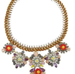 N-3931 Europea Style handmade spraid ribbon silver flat chain multicolor rainbow drop flower statement bib necklace
