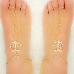 B-0373 Europe Style Gold Plated Personality Hip-Hop Anchor Foot Anklet