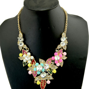 N-3936 New Vintage Style Gold Plated Link Chain Colorful  Flower Alloy Crystal Rhinestone Choker Necklace Earrings Wedding Jewelry  Set
