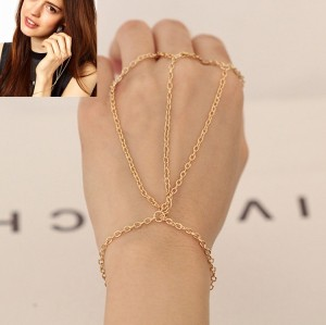 B-0340 Fashion  European Gold Plated Metal Chain Simple 3Rings Chain Bracelet