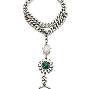 B-0377 Europe Style Silver Plated Chain Pearl Clear Green Crystal Flower Statement Bracelet