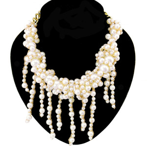 N-3928 Europea Style handmade Thin Chains Pearl statement bib necklace