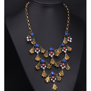 N-3930 Fashion Famous Brand Vintage Boronze Alloy Royalblue Gem Rhinestone Fish Tassels Statement Antique Necklace