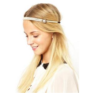 F-0164 Korea Style white pearl chain Hair Band Stretch Hair Accessories