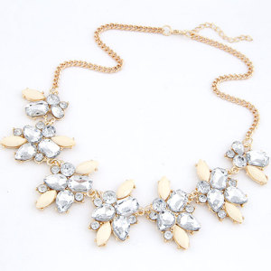 N-3946 New European Gold Plated  Alloy Crystal Flowers Shourouk Choker Necklace