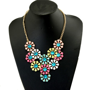 N-3945  European Gold Plated  Link Chain Alloy Crystal Round Flower Shourouk Choker Necklace