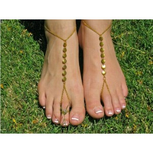 B-0370 Europe Style Gold Plated Sequins Link Chains Foot Anklets
